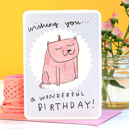 WISHING BIRTHDAY CAT CARD