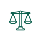 An icon of judicial scales.