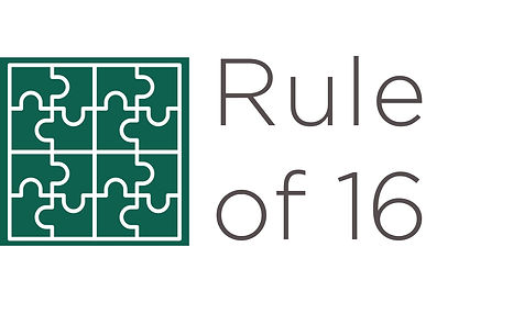 The logo for the Rule of 16 features connected jigsaw pieces.