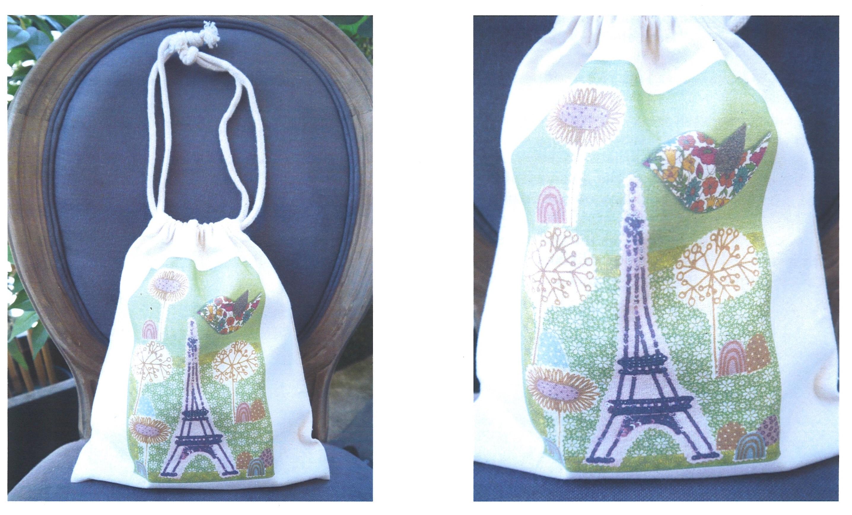 Pochette Tour Eiffel, fond vert