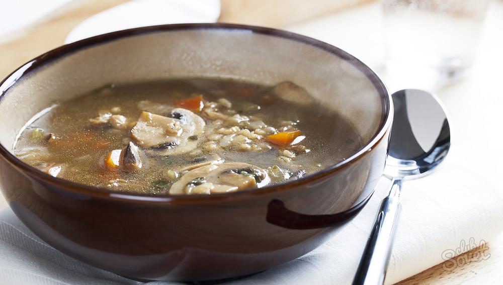 Ячменный суп с грибами