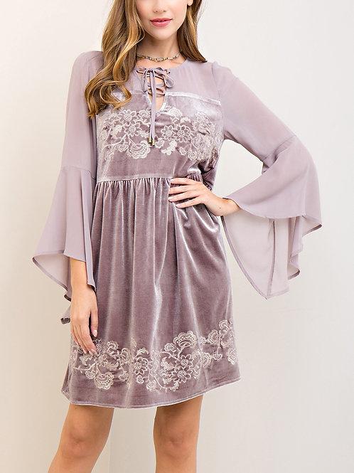 Velvet Embroidered Babydoll Dress