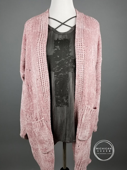 Velvet Knit Bubble Sleeve Mauve Cardigan