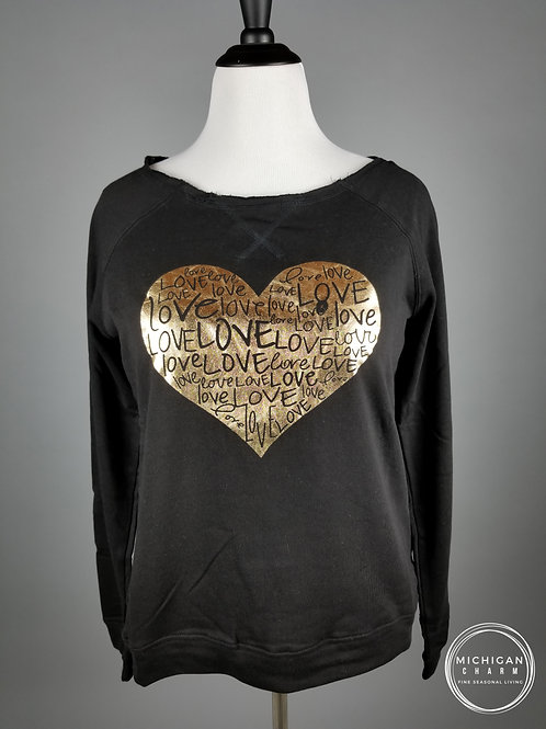 Love Gold Foil Heart Black Sweatshirt