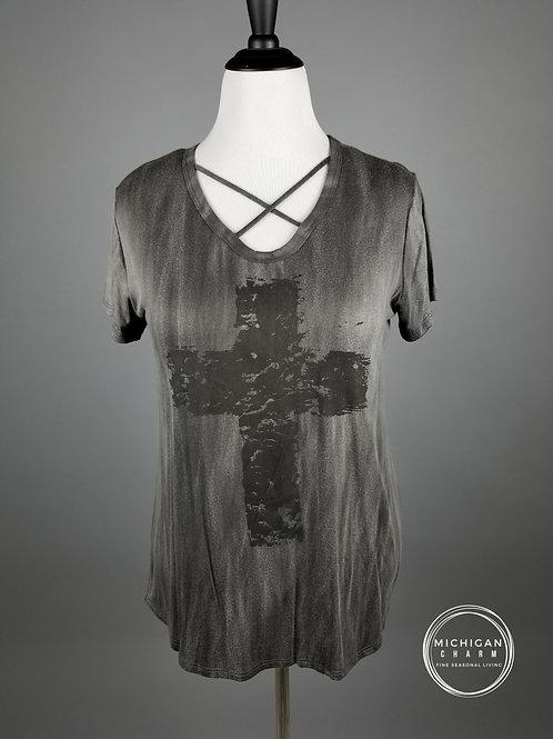 Distressed Cross Cross-Front Tee Shirt