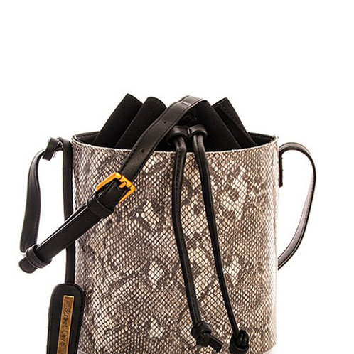 Faux Leather Snake Print Bucket Bag