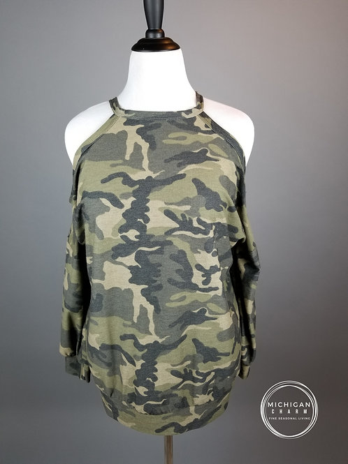 Camo Cold Shoulder French Terry Sweat Top