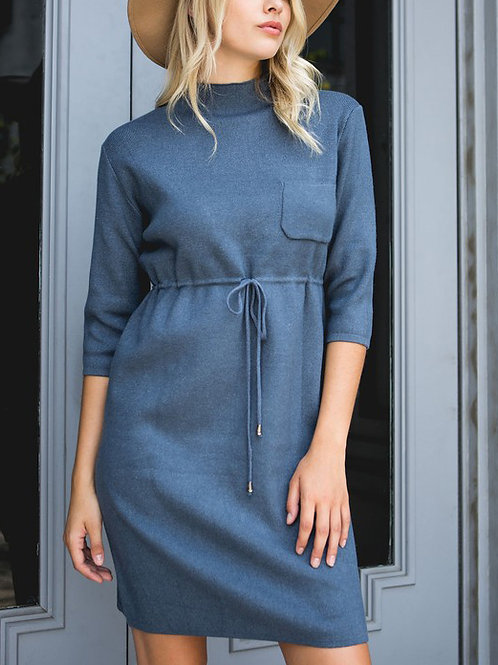 The PERFECT Minimalist Blue Sweater Dress