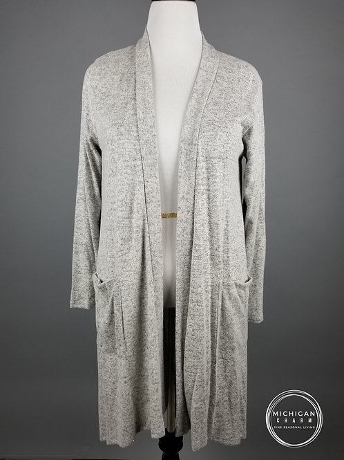 Heather Grey Hacci Brush Duster Cardigan