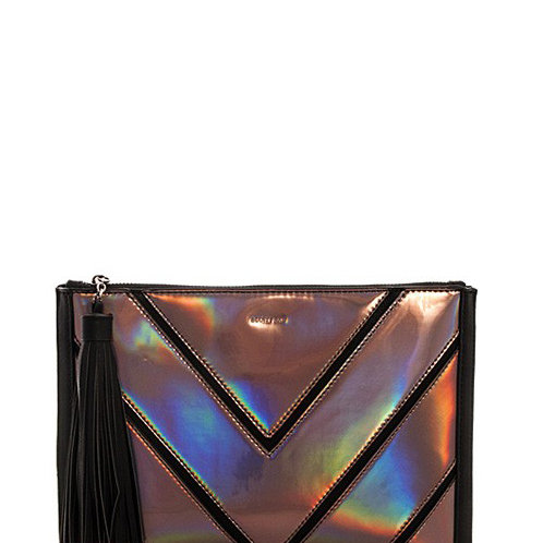 Faux Leather Iridescent Chevron Clutch