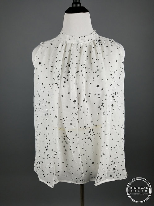 Star Sleeveless Swing Tank Top -White