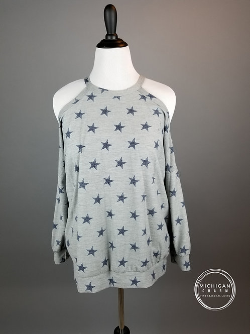 Star Cold Shoulder French Terry Sweat Top