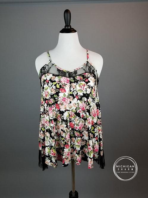 Black Floral Lace Detail Tank Top