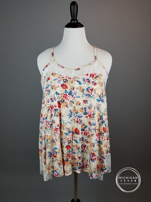 Cream Floral Lace Detail Tank Top