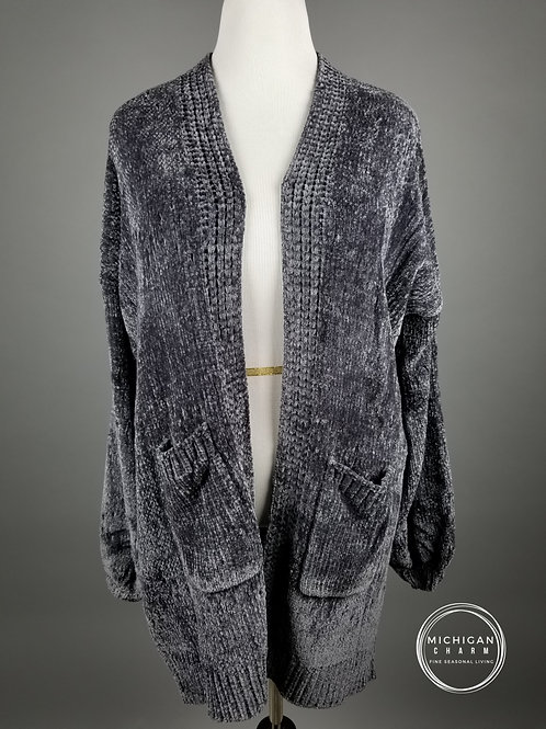 Velvet Knit Bubble Sleeve Charcoal Cardigan
