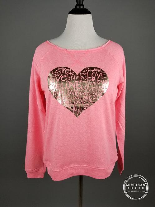 Love Gold Foil Heart Pink Sweatshirt