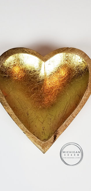Wood Heart Bowl w/Gold Interior