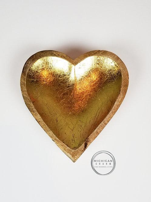 Wood Heart Bowl w/Gold Interior