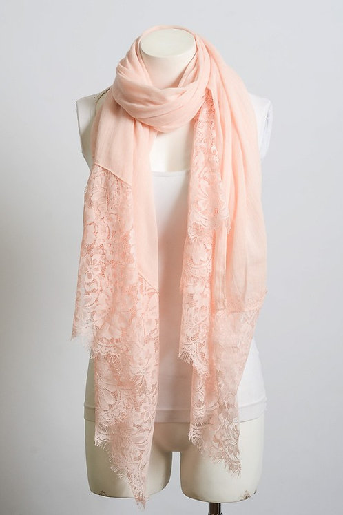 Everything is Peachy Wide Lace Scarf