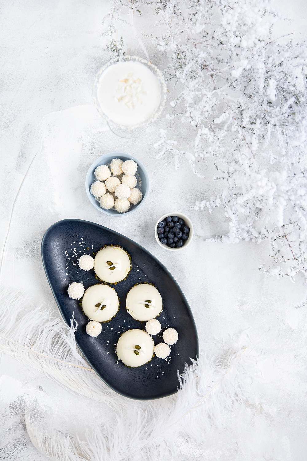 flatlay styling in white and blue