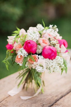 spring bridal bouquet with peonies