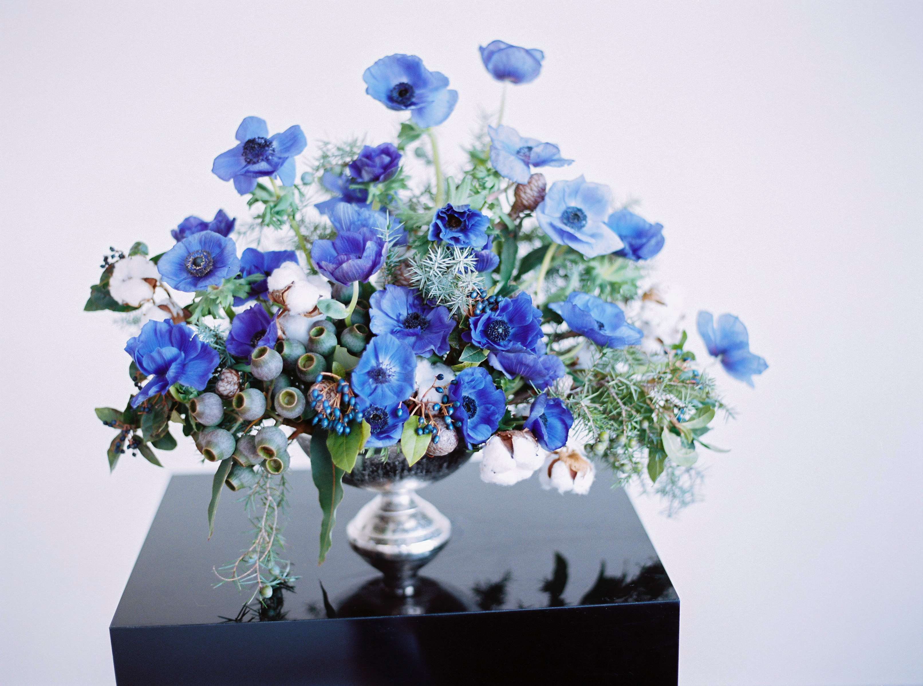 blue anemone arrangement