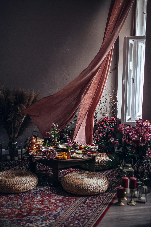 interior decorations for a mediterranean breakfast scene