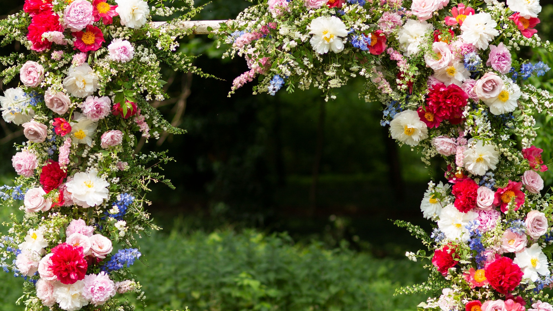 floral arch with peonies