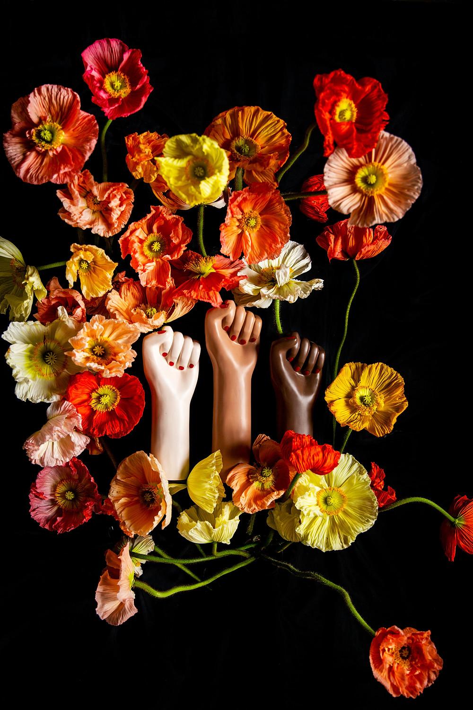 girl power with poppy flowers
