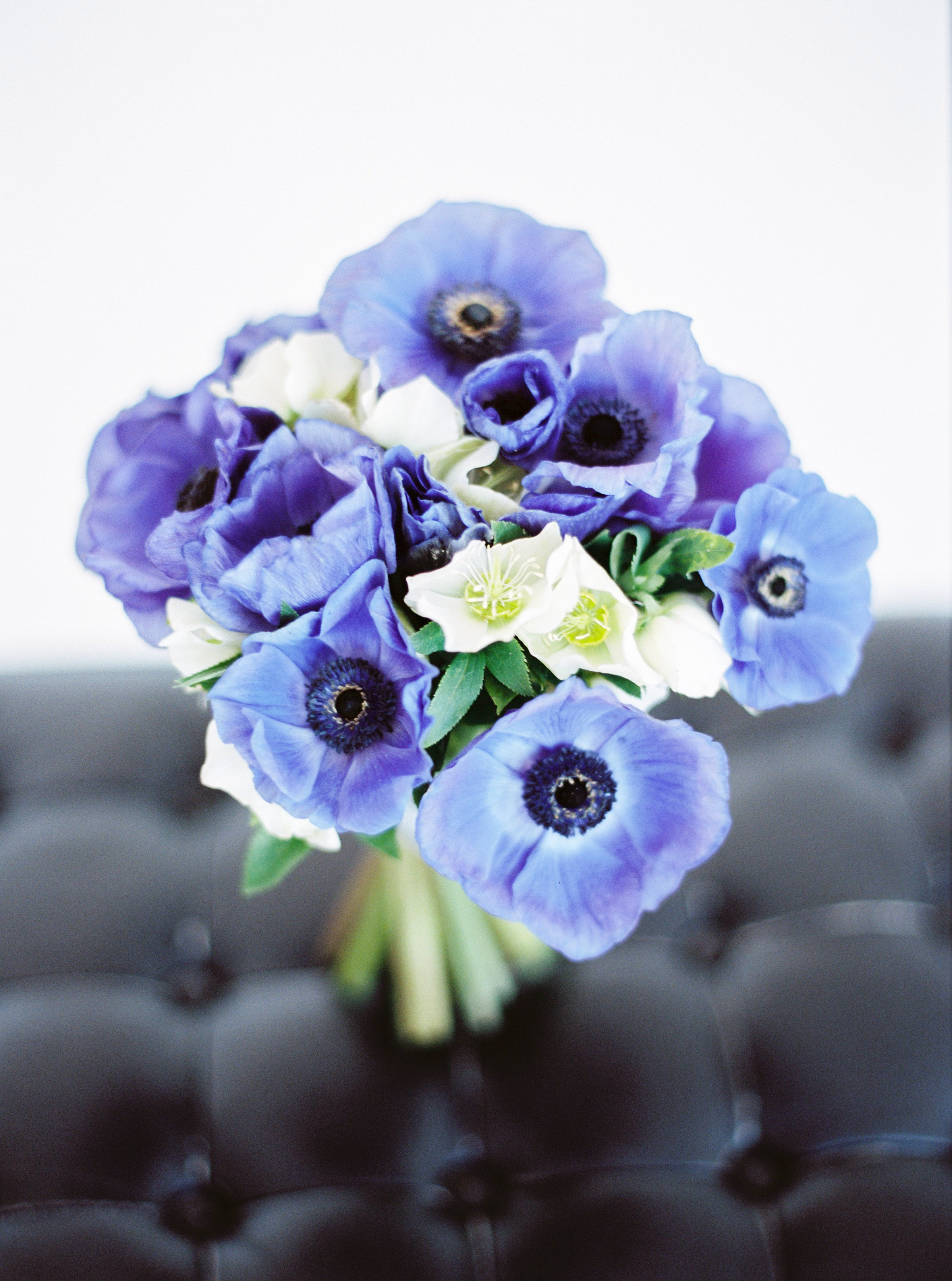blue anemone bridal bouquet