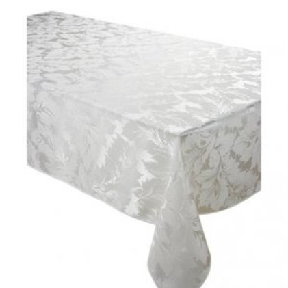 120 Round White Jacquard Table Colth