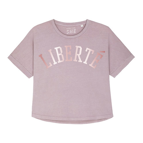LIBERTE RELAXED T-SHIRT WASHED LILAC ORGANIC COTTON