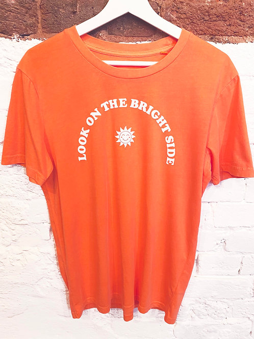 LOOK ON THE BRIGHT SIDE T-SHIRT WASHED FLURO ORANGE