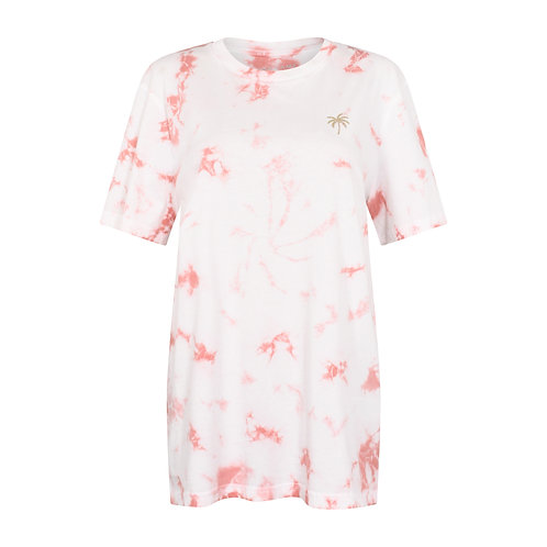 DESERT DUST TIE DYE T-SHIRT WASHED CORAL PINK ORGANIC COTTON