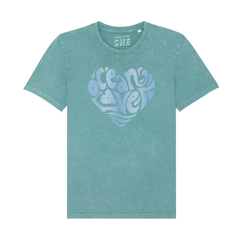 OCEAN LOVER T-SHIRT WASHED TEAL ORGANIC COTTON