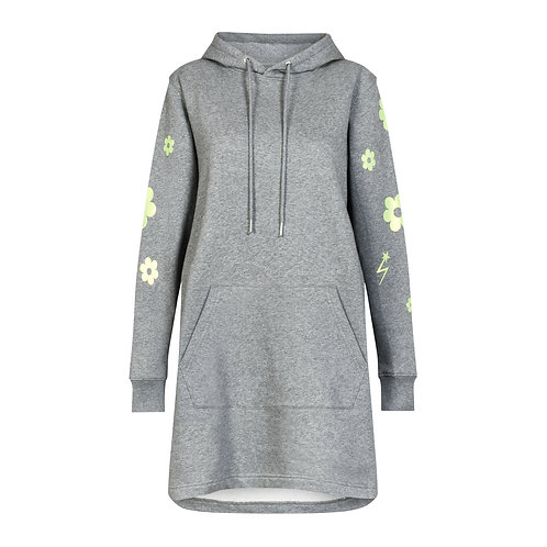 DAISY TRIPPER HOODED DRESS CLOUD GREY MARL ORGANIC COTTON