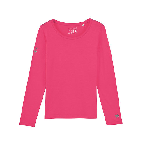 SHOOT FOR THE STARS LONG SLEEVE TOP PINK POP ORGANIC COTTON