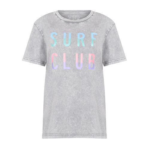 SURF CLUB ORGANIC COTTON T-SHIRT WASHED PEBBLE GREY