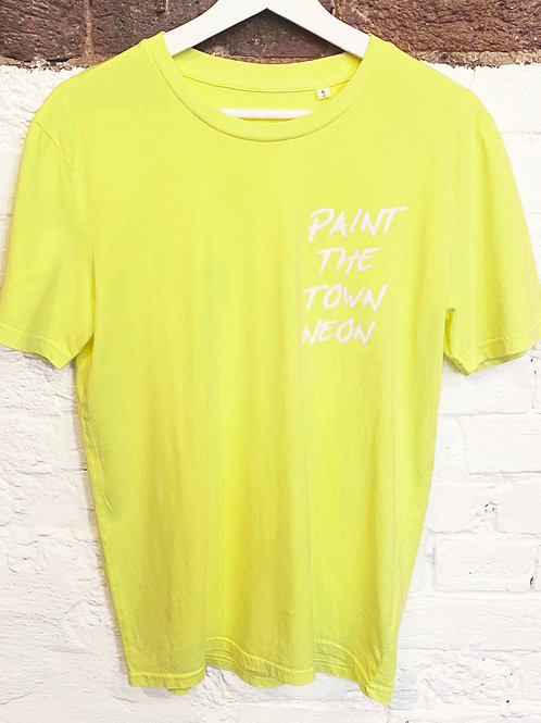 PAINT THE TOWN NEON T-SHIRT WASHED FLURO LEMON YELLOW