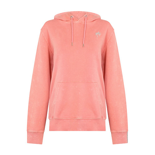 PARADISE PALM HOODIE WASHED CORAL ORGANIC COTTON