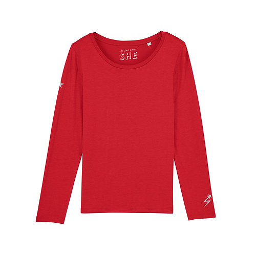 STAR CROSSED LONG SLEEVE TOP ROCKSTAR RED ORGANIC COTTON