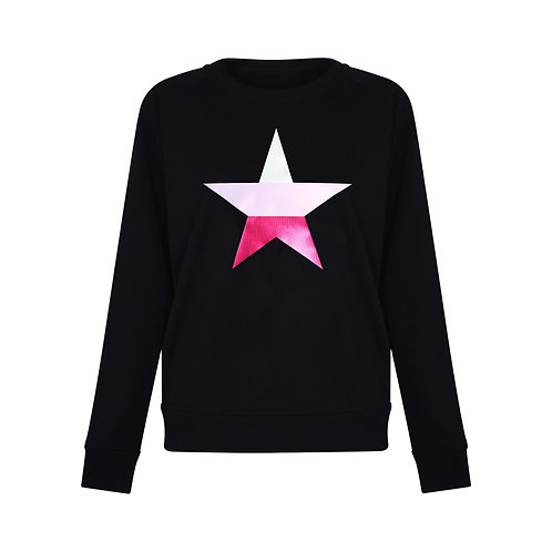 ROCKSTAR STRIPE SWEATSHIRT BLACK ORGANIC COTTON