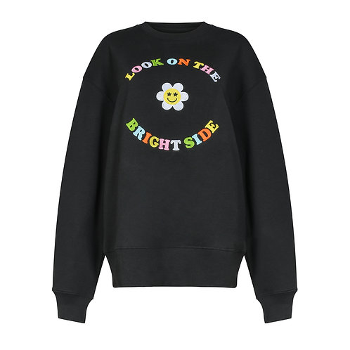LOOK ON THE BRIGHT SIDE RELAXED SWEATSHIRT BLACK ORGANIC COTTON