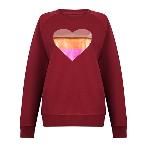 ROUGE GLOW HEART SWEATSHIRT BURGUNDY ORGANIC COTTON