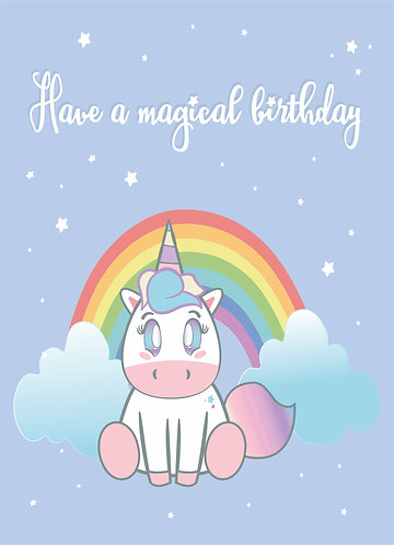 Birthday greeting card - Unicorn