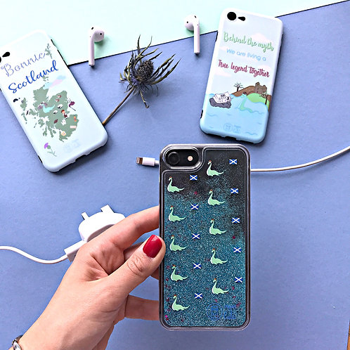 Loch Ness phone case with glitter