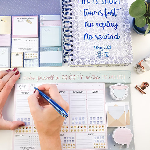 Planner and diary with sticky notes