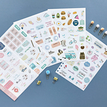 Five sheets of stickers for stationery lovers