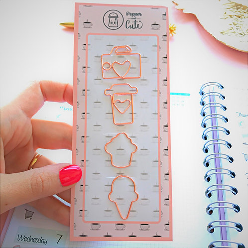 Cute rose gold paper clips with many shapes
