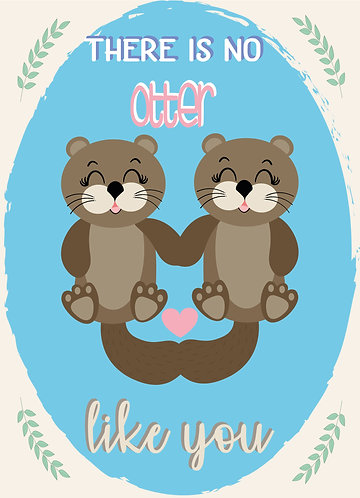 Pretty greeting card with otters